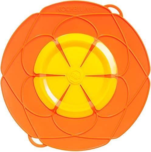 Kochblume Del inventor Armin Harecker XL 33 cm naranja | Protección contra sobrecocción para ollas de diámetro de 20 a 28 cm | Set con paño de microfibra.