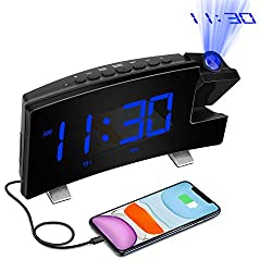 "Digital Projection Alarm Clock Large 8"" LED Curved Screen Display with USB Charger and Loud Dual Alarms for Bedroom, Plug-in 180° Projector 12/24 H Wall Ceiling Clock for Heavy Sleeper Kid Elderly"