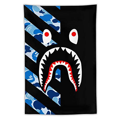SWEET TANG Blue Camo Bapes Shark Teeth Black Wall Tapestry Hippie Tapestry Wall Hanging Home Decor Extra Large Tablecloths 60x40 inches Poster for Bedroom Living Room Dorm Room