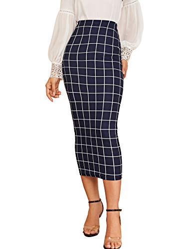Verdusa Women's Elegant Plaid Elastic Waist Bodycon Midi Skirt Dark Blue M