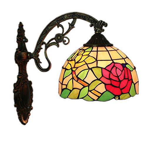 MTTK Rose Tiffany Style Mur Lampe Vintage conçu Verre Mur lumière intérieur éclairage 20 * 36CM
