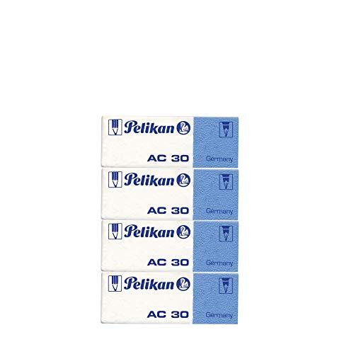 Pelikan Gomme da Cancellare, AC 30, Bianca e Blu, Confezione da 4 Pezzi, per Matite e Inchiostro, Senza Lattice e Ftalati, Prodotto in Germania