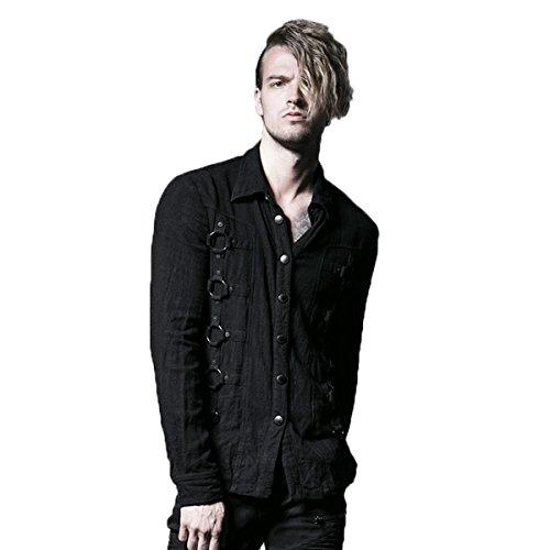 Punk Rave Black Gothic Punk Metal Dark Long Sleeves Shirt for Men (Medium)
