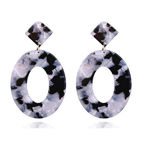 ERHUANEH Acrylharz Oval Baumeln Ohrringe Für Frauen Geometrie Großen Kreis Schildpatt Ohrringe Schmuck