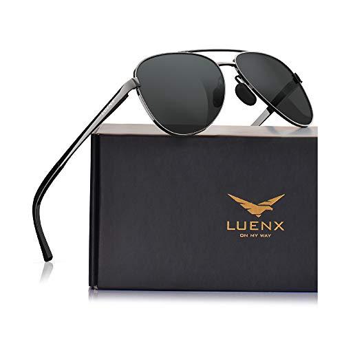 LUENX - Gafas de sol de aviador para mujer con espejo polarizado con funda, protección UV 400, 60 mm - negro - 60 mm