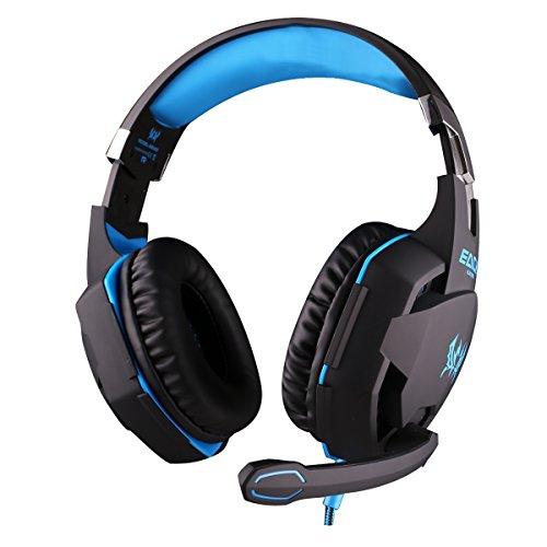 『KOTTON EACH G2100 ゲーミング ヘッドセット 振動機能付き ヘッドホン プロフェッショナル ゲームヘッドセット 重低音 ステレオベース ヘッドバンド 音量調節 バンド マイク LEDライト付き スマトフォン/PC/パソコン/タブレット/コンピュータ対応 (G2100, ブルー+ブラック) [並行輸入品]』の4枚目の画像