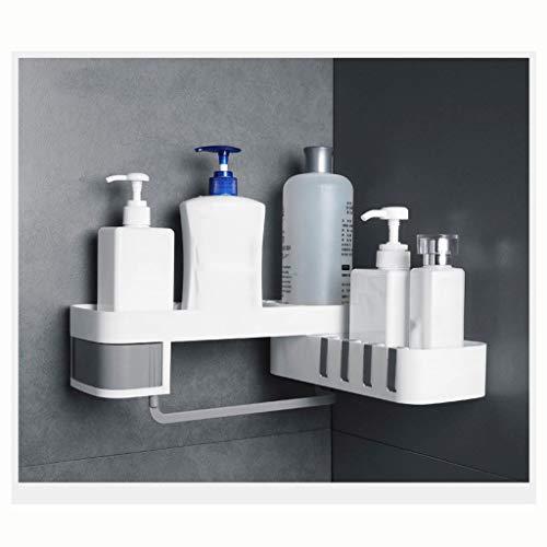 Estante de baño Cuarto de baño estante de la esquina de baño Cocina estante de la esquina doble capa de almacenamiento en rack multi-función de almacenamiento de pared estante 0829 ( Color : Gray )