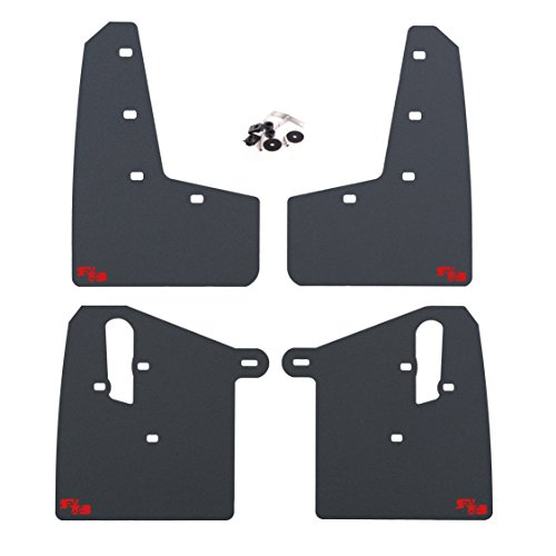 RokBlokz Mud Flaps for 2015+ Subaru WRX STI - Multiple Colors Available - Includes All Mounting Hardware (Black with Red Logo, Short)