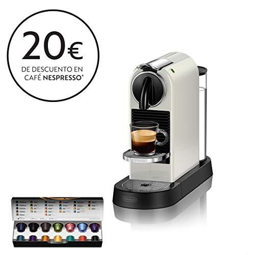 Nespresso De'Longhi Citiz EN167.W - Cafetera monodosis de cápsulas Nespresso, compacta, 19 bares, apagado automático, color blanco