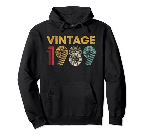 Regalo de 32 cumpleaños Vintage 1989 32 años Sudadera con Capucha