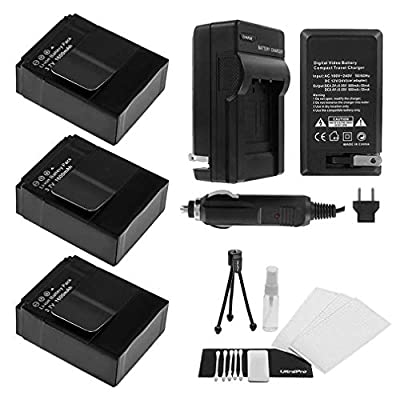 3-Pack GoPro HD Hero3, Hero3+, AHDBT-201, AHDBT-301 High-Capacity Replacement Batteries with Rapid Travel Charger. UltraPro Bundle Includes: Camera Cleaning Kit, Screen Protector, Mini Travel Tripod by UltraPro