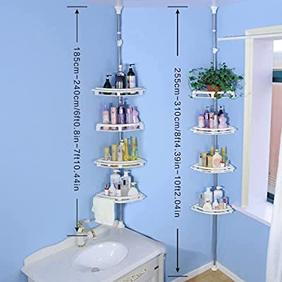 BAOYOUNI 4-Tier Bartoom Corner Tub and Shower Tension Pole Caddy, White Color and Adjustable Shelves