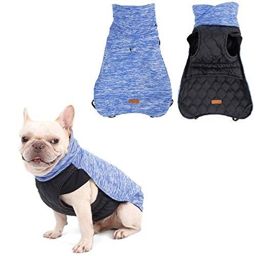 LEMON PET Hunde-Wintermantel, wasserdicht, wendbar, für kleine und mittelgroße Hunde, Fleece, warm, winddicht, für kaltes Wetter, Herbstweste, Bekleidung mit Geschirr, Größe XS Halsumfang: 33 cm, Blau