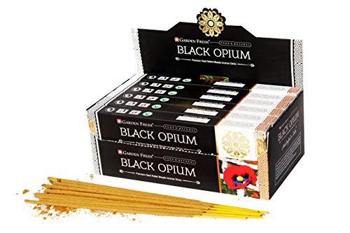 Garten Frisch Prämie Räucherstäbchen schwarzes Opium, 180 g, Box mit 12 Packungen à 15 g, in Einer Box, hochwertige, handgerollte natürliche Räucherstäbchen