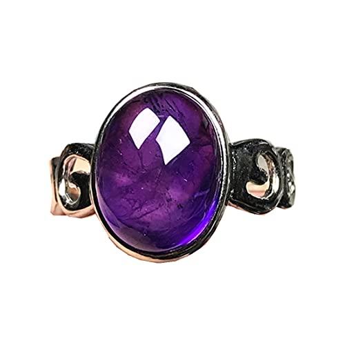 Anillos de amatista púrpura natural para mujer hombre, joyería de amatista cristal 15 x 12 mm plata oval cuentas piedras preciosas anillo ajustable AAAAA