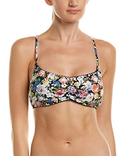 Lucky Brand Junior's Late Bloomer Bralette Bikini Top with Removable Cups, Multi Colored, L