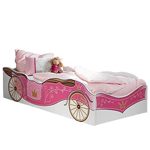 Jugendmöbel-24 585 Kinderbett Zoe weiß pink - 90x200 cm, GS-geprüft, für Mädchen Kinderzimmer, Kutschen Liege, Prinzessinen Design, Jugendbett
