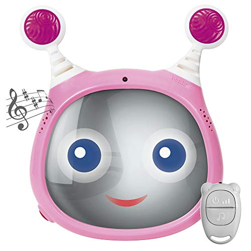 Oly Active Baby Car Mirror – Shatter-Proof Rear Facing Infant Mirror Entertains, Soothes, and Keeps Baby Visible – 10 x 11.7 x 3.1 In. Adjustable Headrest Mirror with Remote Control by Benbat, Pink