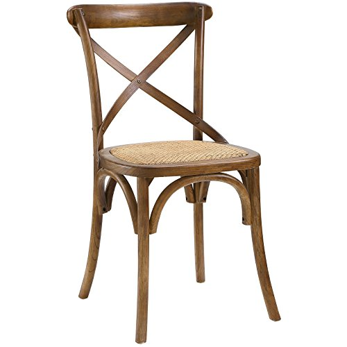 Modway Gear Rustic Modern Farmhouse Elm Wood Rattan Dining Chair in Walnut