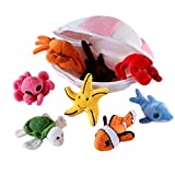 Plush Soft Stuffed Ocean Sea Animals Playset with Plush Shell Package House for Storage Includes Stuffed Turtle, Lobster, Crab, Dolphin, Stingray Fish, Octopus, Starfish, Nemo Striped Fish (8 Piece)
