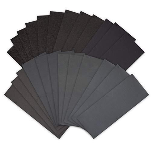 Encham 24 x Schleifpapier Set Nassschleifpapier Nass und Trocken Sandpapier mit Körnung für Metall Rost Holz Spachtel Stein Kunststoff Lack, 23,5 x 9 cm (MEHRWEG)