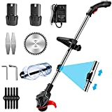 ATGTAOS 48V Cordless Battery Glass String Trimmer Edger,Electric Brush Cutter Corded Push Power Garden Tools Lawn Mower for Lawn Garden Field Farmland,2 battery,4500MA