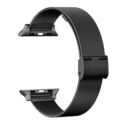 YYAN Ajuste for iWatch 5 Bandas 44 mm 40 mm de Acero Inoxidable Malla de Malla Correa Correa for la Banda de Reloj de Apple 42mm 38mm Strap Serie 5 4 3 Pulsera de Pulseira (Band Color : Black)
