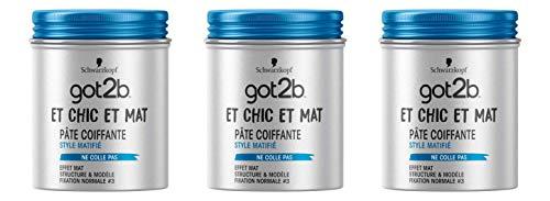 got2b - Pâte Coiffante Cheveux - Et Chic Et Mat - Pot 100 ml - Lot de 3