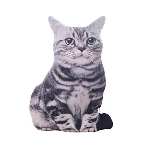 TOYANDONA 1Pc Gato Simulado 3D Estéreo Almohada de Peluche Cojín de Peluche de Juguete (Grano de Tigre)