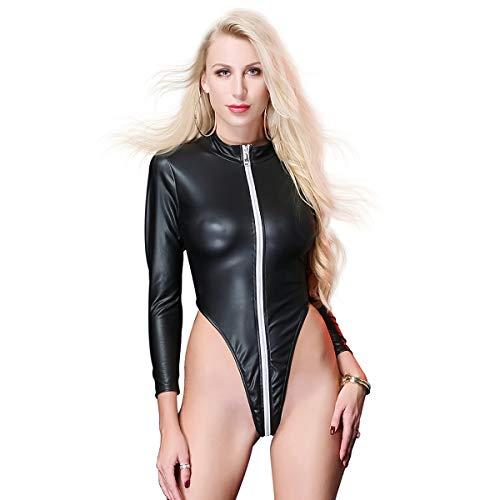 FYMNSI Body de piel sintética de PVC con aspecto mojado de manga larga con cremallera frontal de leotardo de cuello alto sexy de corte alto con traje de lencería monokini polo de baile de clubwear