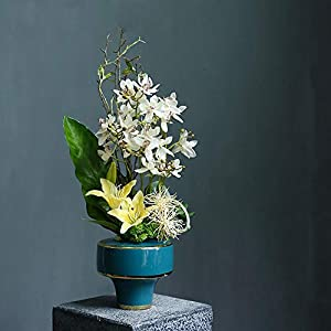 Silk Flower Arrangements Artificial Flowers Silk Flower Fake Flower Real Touch Calla Lily Bouquets with Vase Potted Plant for Office Home Desk Decoration Exquisite New House Gift