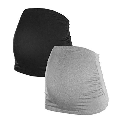 Herzmutter Bauchband für Schwangere - 2er-Set - Baumwolle - Umstands-Schwangerschafts-Bauchbänder - Nieren-Rückenwärmer-Shirtverlängerung - Einfarbig-Gestreift - 6000 (L, Schwarz/Grau)