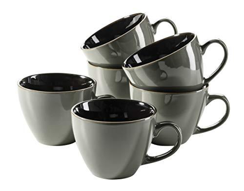 MÄSER 931518 Serie Scuro Cappuccino-Tassen-Set aus Keramik für 6 Personen, Milchkaffeetassen, Jumbo Kaffeetassen, 450 ml, Grau Steinzeug
