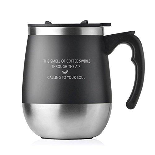 ZDZDZ 450ML auslaufsichere isolierte Edelstahlkaffeetasse mit Griff & Deckel - vakuumisolierte Tumbler Thermos Travel Kaffeetasse für heiße / kalte Getränke (450ML Black)