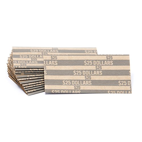 Sacagawea Dollar Coin Wrappers, 100 Flat Striped Coin Wrappers