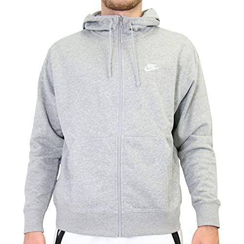 Nike Herren M NSW Club Hoodie FZ FT Sweatshirt, dk Grey Heather/Matte Silver/(White), L