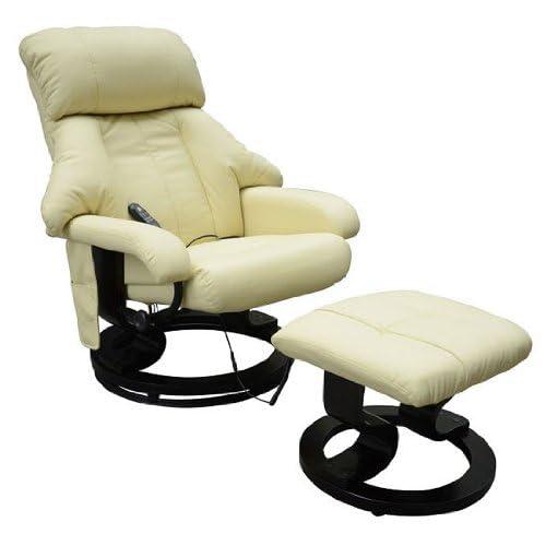 Homcom Fauteuil de Massage Relaxation Chauffage Electrique Repose-Pied crème