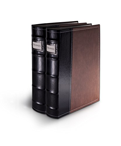 Bellagio-Italia Brown DVD Storage Binder Set - Stores Up to 96 DVDs, CDs, or Blu-Rays - Stores DVD Cover Art - Acid-Free Sheets