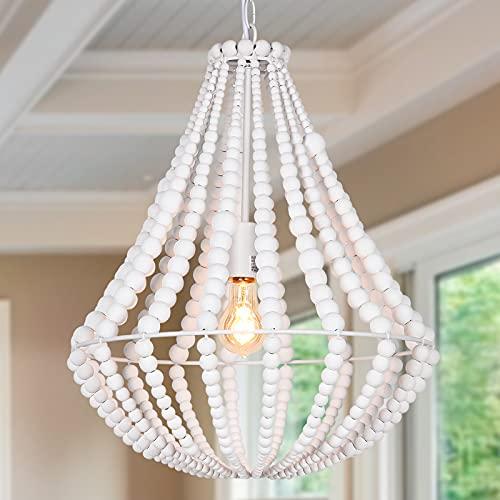ANKARL Boho Light Fixtures, Wood Beaded Chandelier, Farmhouse Pendant Light, 1-Light, White Ceiling Hanging Light for Bedroom, Living Room, Dining Room, Kitchen, Hallway, 16.5″