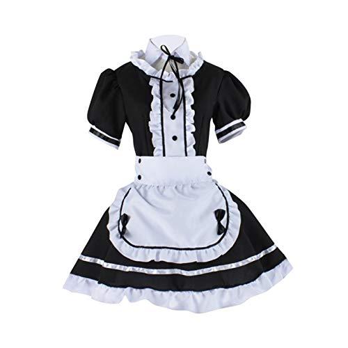 XIAMUSUMMER Französisches Damen-Kostüm, Cosplay Anime für Damen, französische Schürze, Kellnerin Kostüm, japanische Anime Sissy Maid Dress Cosplay
