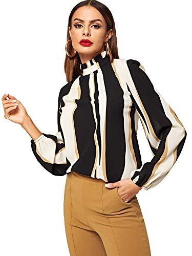 ROMWE Women's Elegant Printed Stand Collar Workwear Blouse Top Shirts Black Small