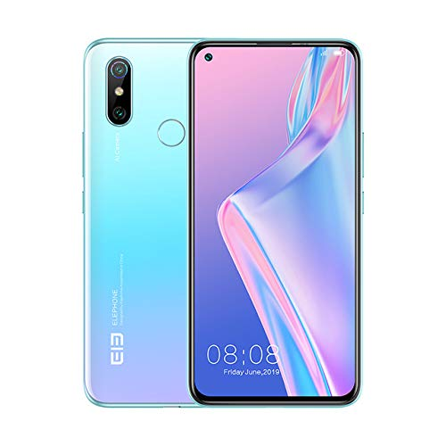 ELEPHONE U3H Smartphone,6,53 Zoll FHD+ Display Vollbild,Face Unlock, Back Fingerprint,3500mAh,NFC,Android 9.0,Globale Version (Blau, 8GB+256GB)