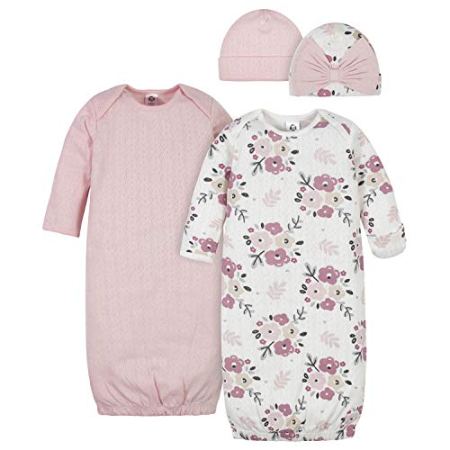 Gerber Baby Girls' 4-Piece Organic Gown and Cap Set, Pink Floral, 0-6 Months