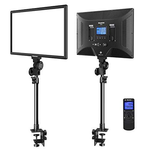 Dazzne Desk Mount LED Video Light C-Clamp Stand Kit 2 Pack 15.4' Large Panel 3000K-8000K 45W 3600LM...