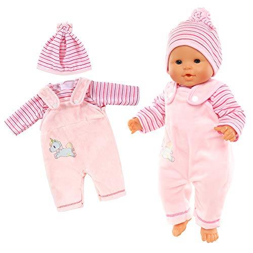 Miunana Kleidung Bekleidung Outfits für Baby Puppen, Puppenkleidung 35-40 cm, 3 teilig, T-Shirt Latzhose mit Hut (Pink)