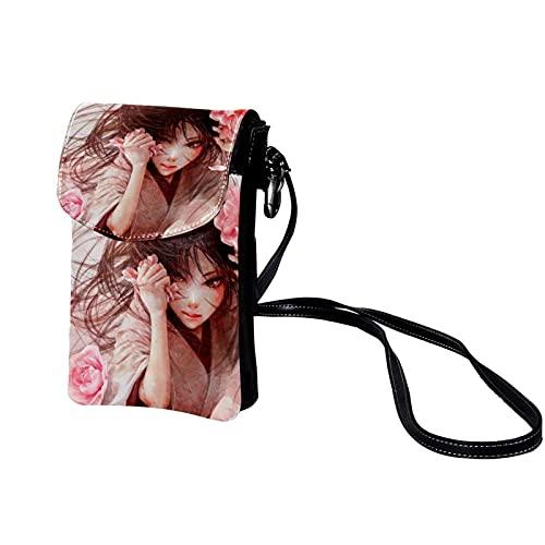 Haminaya Mujer Bolso para teléfono móvil Chica linda (77) Bolso bandolera Monedero Mini Bolso de cuero ligero para teléfono móvil 19x12x2cm