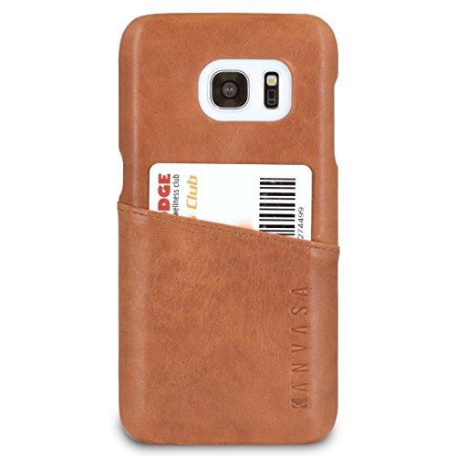 Funda Galaxy S7 Piel Marrón - KANVASA Case Cover Carcasa Tapa Trasera Cards en Piel Auténtica Premium con Cartera para Samsung Galaxy S7 Original - Ultrafina con Bolsillo Tarjetero