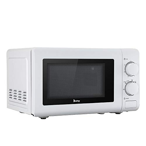 YYAO Countertop Microwave Oven 700W 0.7cuft Microwave Ovens,6 Power Levels,Mechanical Knob,Button Door Switch (White)