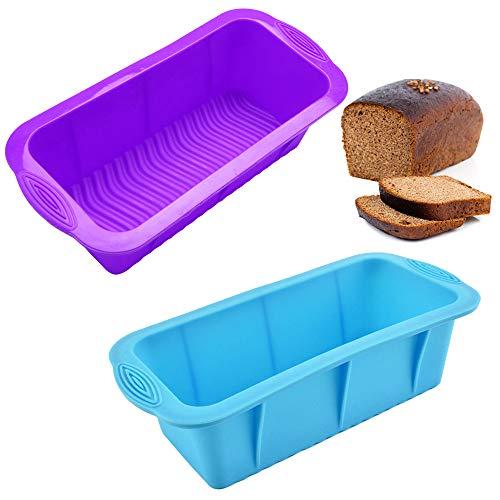 Padella in silicone da 2 confezioni, stampo rettangolare in silicone SourceTon Strumenti di cottura Stampo per toast caramelle per pane fatto in casa, sapone, fondente, polpettone - rosso, blu