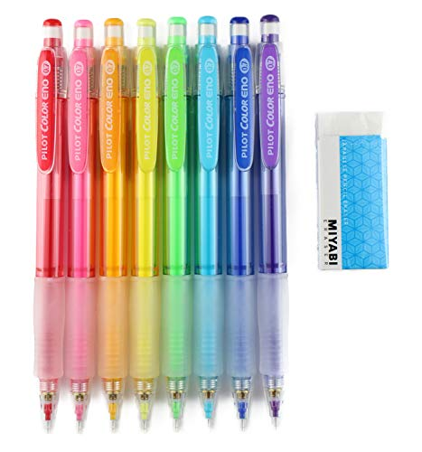 Pilot Color Eno Mechanical Pencil, 0.7mm, 8 Colors, MIYABI eraser set (HCR12R-8C/MB-Blue)